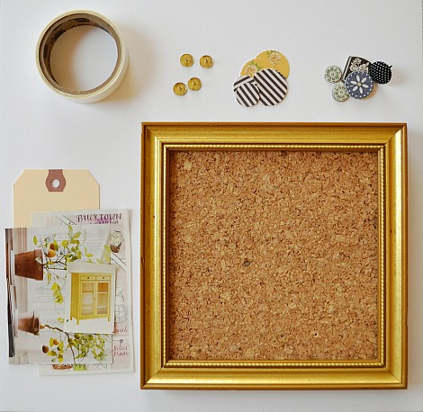 First I Started With A Small Gold Frame Found At Local Thrift Cut Piece Of Cork Board To Fit Inside It And Then Added