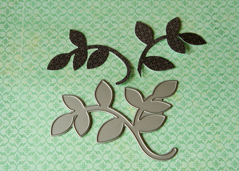 Step 5 cut die and cut leaves in half