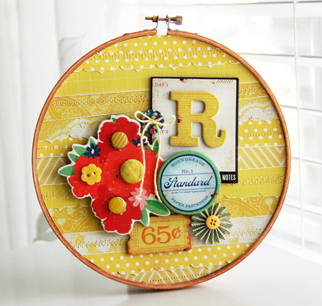 Roree Rumph-Crate Paper Jun12 Sunshine Yellow-R Embroidery Hoop 3