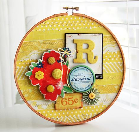 Roree Rumph-Crate Paper Jun12 Sunshine Yellow-R Embroidery Hoop 3
