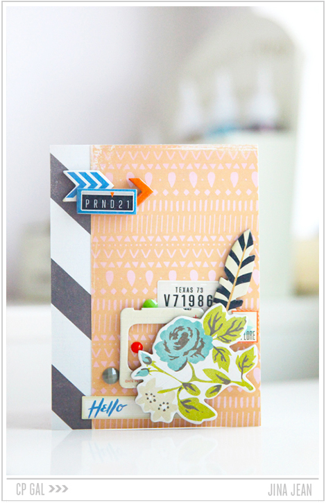 Crate Paper | Jina Jean | Turquoise Floral Card using the Crate Paper collection Open Road