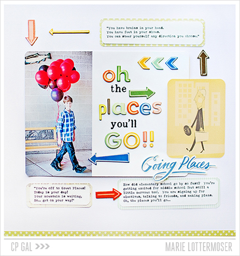 A 'on the move' layout using the Open Road collection from Crate Paper - CP Gal Marie Lottermoser
