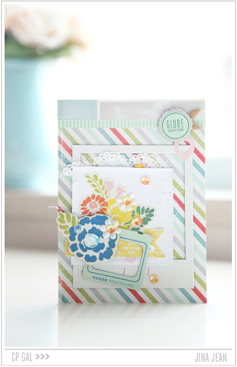 Crate Paper | Jina Jean | Blue Floral Card using the Crate Paper collection Open Road