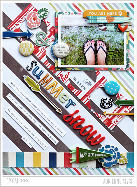 A Crate Paper Open Road layout from CP Gal Adrienne Alvis   Summer Snow