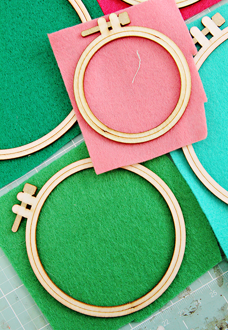 Crate Paper Craft Market Wood Embroidery Hoops backed with felt and altered by Christine Middlecamp