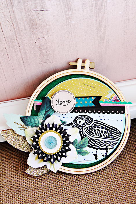 Crate Paper Craft Market Wood Embroidery Hoops altered by CP Gal Christine Middlecamp