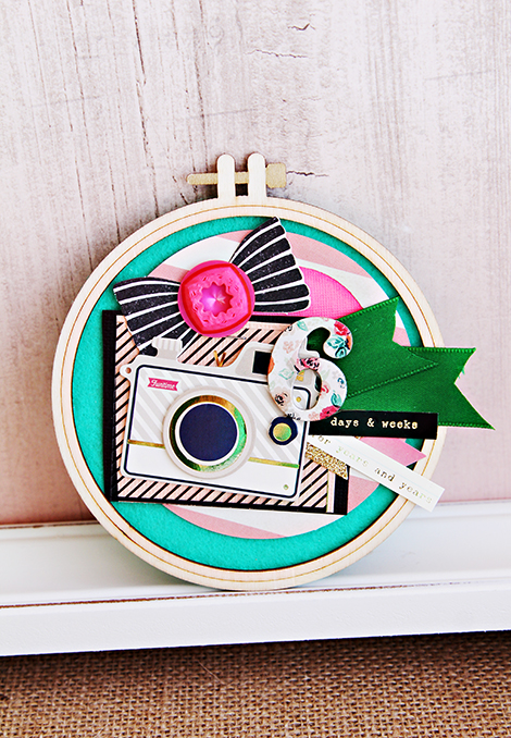 Crate Paper Altered Wood Embroidery Hoop | CP Gal Christine Middlecamp
