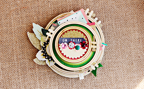 A collection of Craft Market Wood Embroidery Hoops altered by Crate Paper Gal Christine Middlecamp
