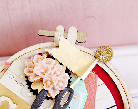 Epoxy Pink Florals Brad | Crate Paper | CP Gal Christine Middlecamp