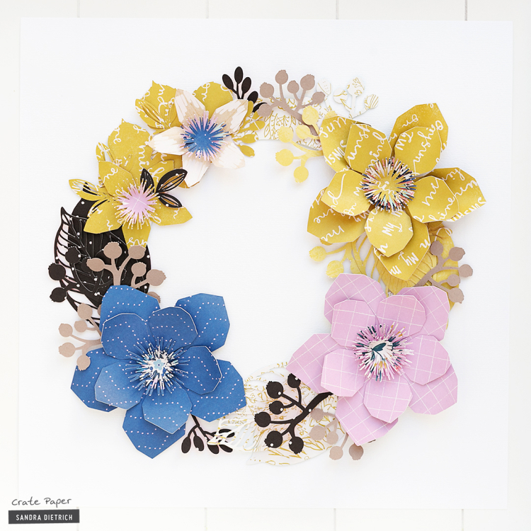 Welcome Fall Paper Flower Wreath Crate Paper