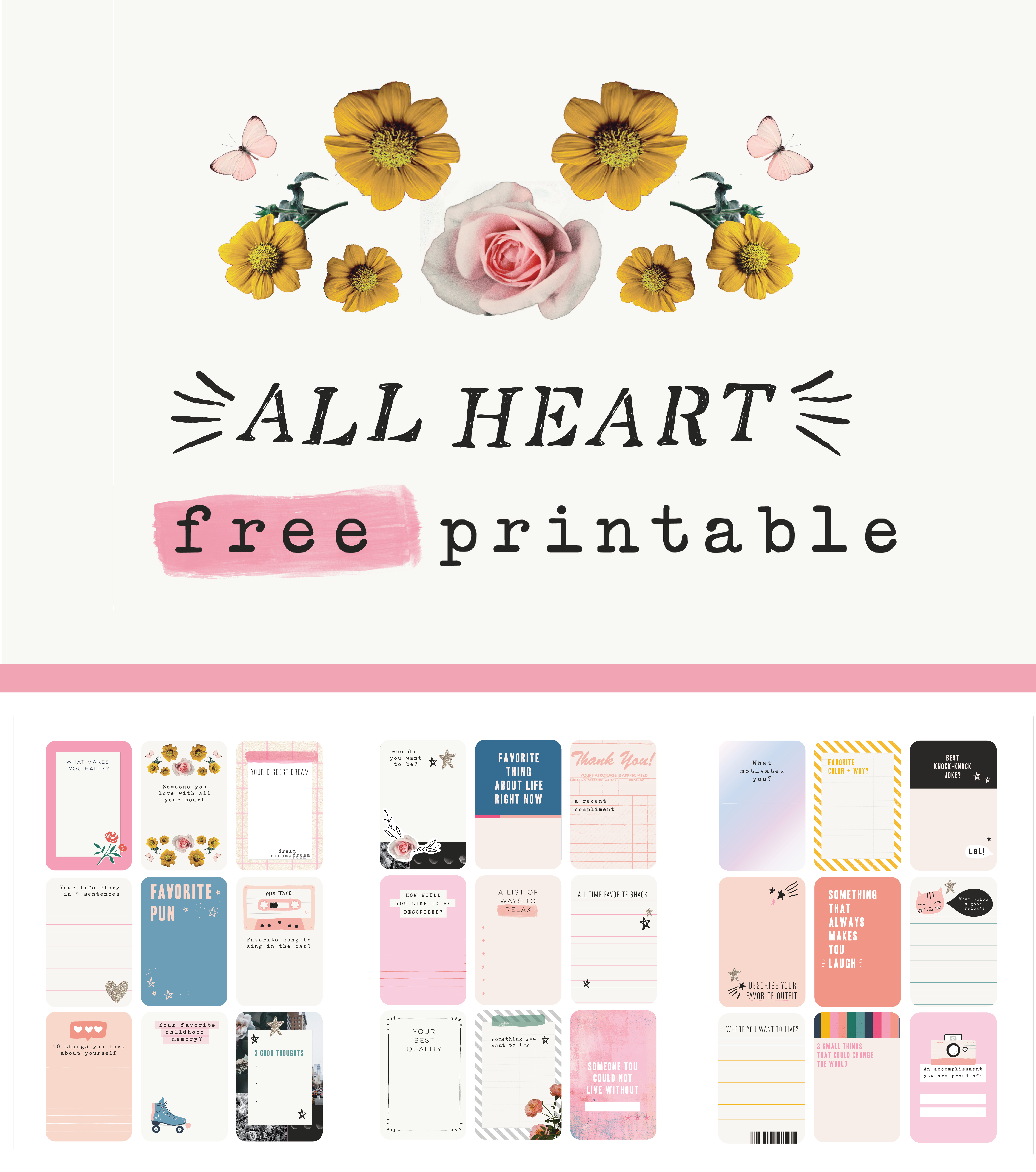 image about Free Printable Journaling Cards named No cost All Centre Journaling Playing cards - Crate Paper